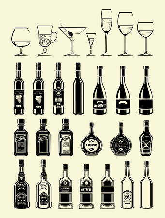 glass bottle: Black drinks and beverages icons set