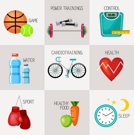 dieta sana: Iconos de estilo de vida saludables concepto fijaron