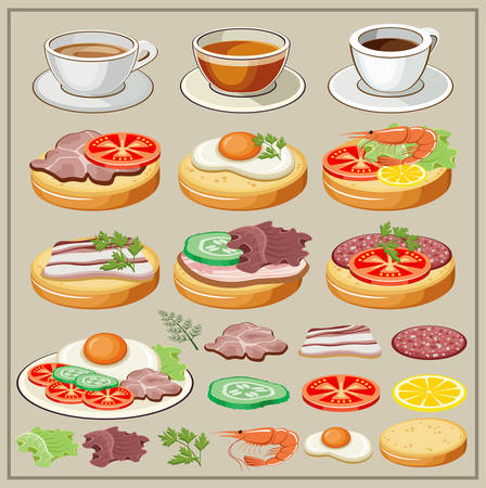 sausages: Set of breakfasts