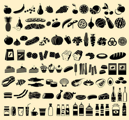 fruits and vegetables: Black vector icons of products Illustration