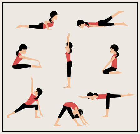 health and fitness:  Girl does exercises illustration.