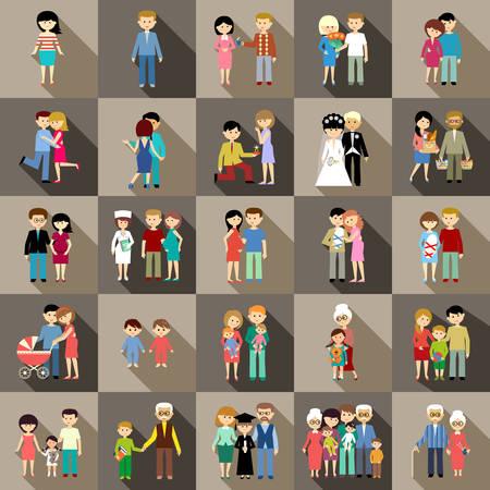 vecchiaia: L'insieme grande della vita familiare nel design piatto stile.
