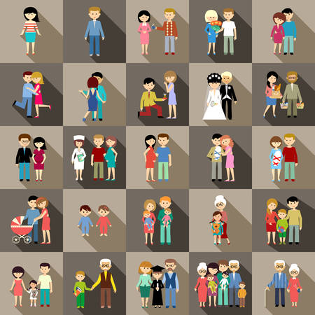 age old: The big set of family life in style flat design.
