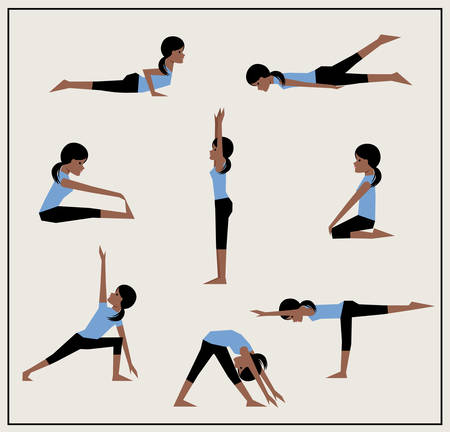 Set of asanas African American girl does exercises.