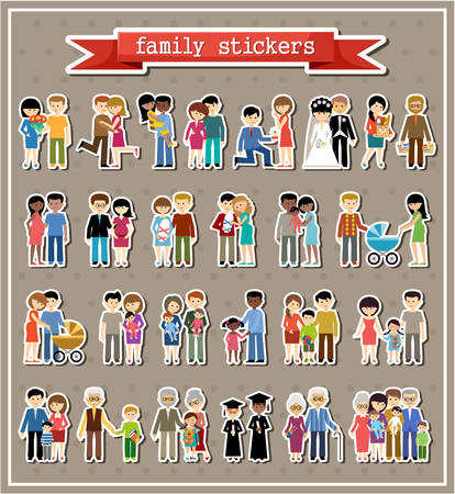 Stickers of family life in style flat design.  Vettoriali