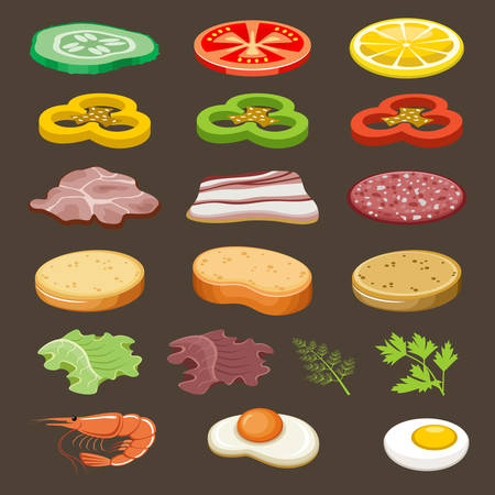 food illustration: Food slices for sandwiches. Snack. Vector illustration