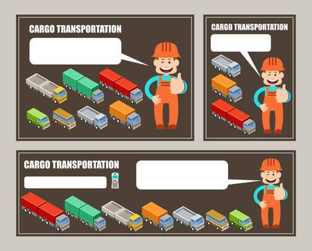 ciężarówka: Samochodowe transport ładunków. Ulotki, baner, plakat. ilustracji wektorowych Ilustracja