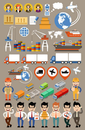 freight transportation: Freight transportation and delivery logistics flat set. Transport delivery services. Vector illustration Illustration