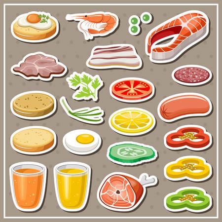 cutting sticker: Set of grocery stickers. Vegetables, snack, drinks. Vector illustration Illustration