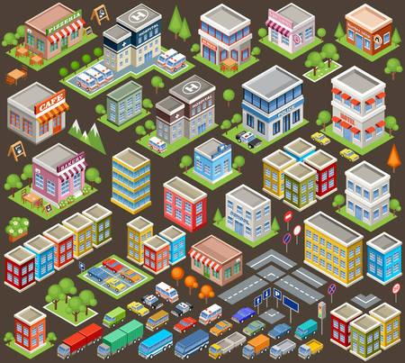 construccion: Conjunto isométrica Grande de edificios y casas. Infraestructura. Carretera y los coches. Ilustración vectorial Vectores