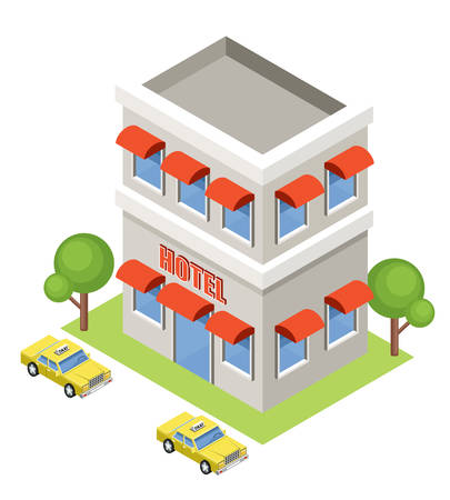 Isometrische hotel op een witte achtergrond. vector illustratie