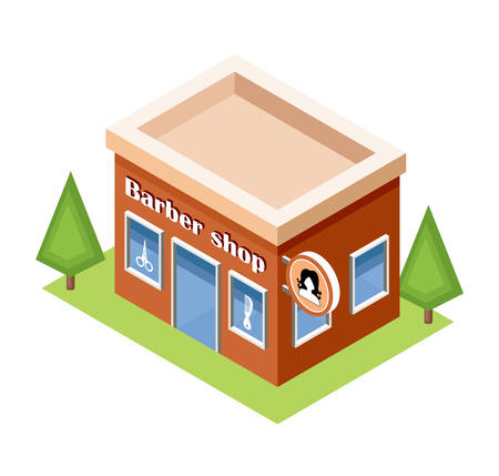 modern apartment: Isometric barber shop on a white background. Vector illustration