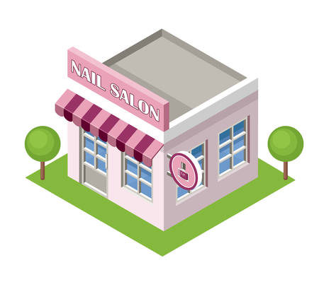 nail salon: Isometric nail salon on the white background. Vector illustration Illustration