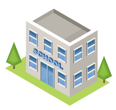 Isometric school on a white background. Isolated. Vector illustration.
