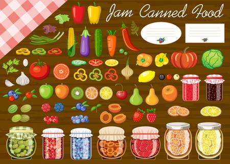 ジャムや缶詰の野菜や果物のセットです。ラベルです。ベクトル図