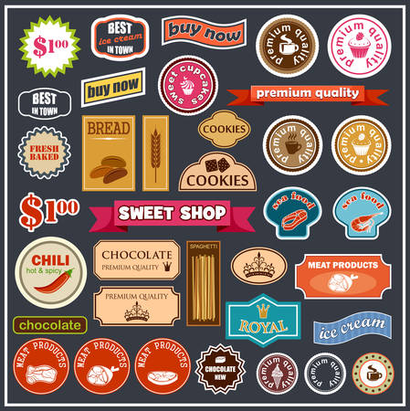 food icons: Set of labels and stickers for food. Vector illustration Illustration