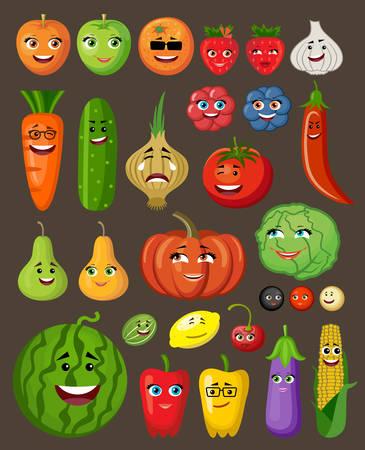 caras de emociones: Conjunto grande de frutas y verduras con personas y personajes. ilustraci�n vectorial Vectores