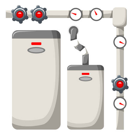 water pipes: Boiler room on a white background. Vector illustration