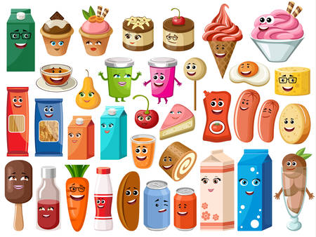 Funny cartoon products with face on the white background. Vector illustration Illustration
