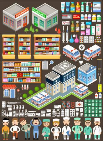 pacientes: Conjunto médico grande. Drogas, hospital, coches ambulancia, médicos, de farmacia. ilustración vectorial
