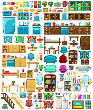 collection: Big set of furniture on a white background. Vector illustration Illustration