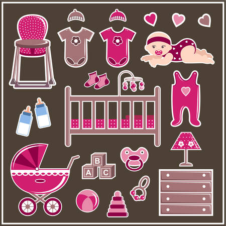romper suit: Set of clothes, furniture and items to care for a little girl. Vector illustration Illustration