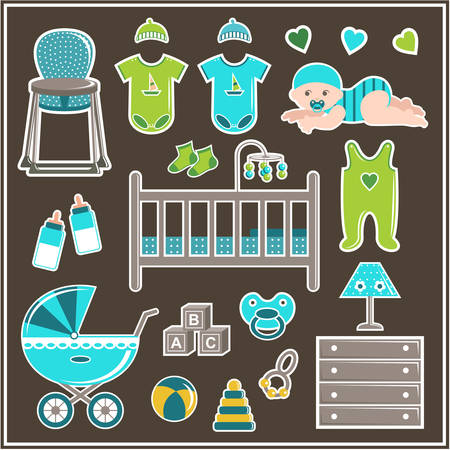 romper suit: Set of clothes, furniture and items to care for a little boy. Vector illustration Illustration