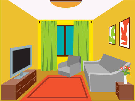 vector lamp: Living room with furniture. Vector illustration