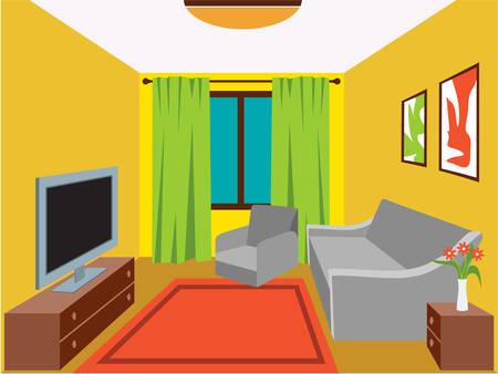 Woonkamer met meubilair. vector illustratie Stock Illustratie