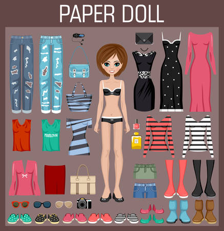 cartoon underwear: Paper doll with clothes. Vector illustration