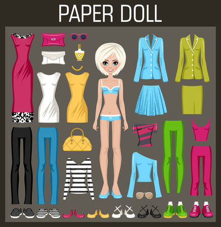 dolls: Paper doll with clothes. Vector illustration
