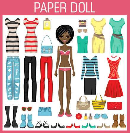 paper dolls: Paper doll with clothes. Vector illustration