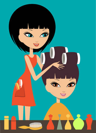 hair brush: Woman in hairdressing beauty salon. Vector illustration
