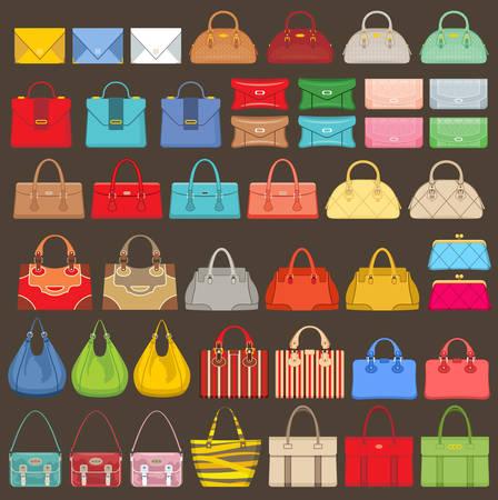 Gran conjunto de bolsas en un fondo marrón. Ilustración vectorial Foto de archivo - 45733125