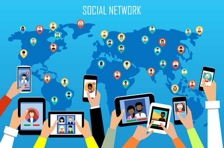 Social network concept. Flat style. Infographic design. Vector illustration