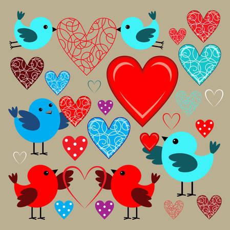 scrapbook: Stickers with birds and hearts. Scrapbook. Vector illustration