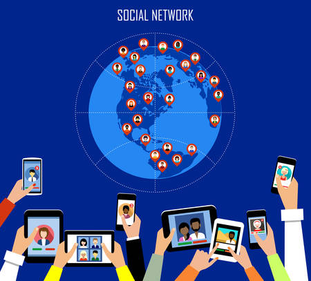 tablet: Social network concept. Flat style. Infographic design. Vector illustration