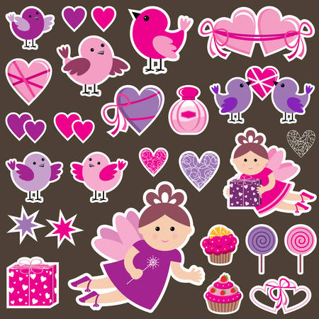 scrap: Stickers with birds, hearts and fairies. Scrapbook. Vector illustration