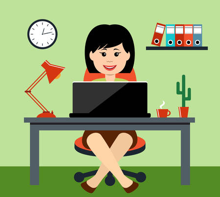 computer work: The woman at office. Desktop. Vector illustration Illustration