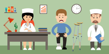 visit: Doctor talking to her male patient at office. Vector illustration