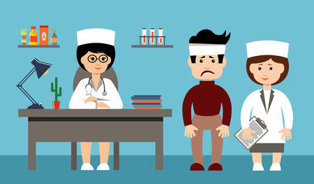 diagnosis: Two doctors and the patient in an office. Vector illustration Illustration