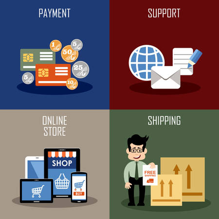 retail store: Internet shopping, online store and web market. Vector illustration