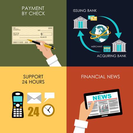 interchange: Banking set icons in style flat design. Transactions. Vector illustration