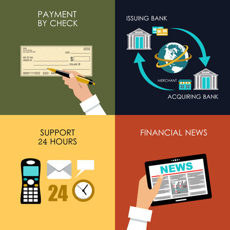 Banking set icons in style flat design. Transactions. Vector illustration