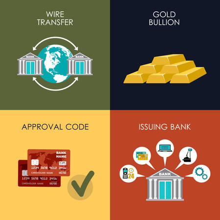 acquirer: Banking set icons in style flat design. Transactions. Vector illustration