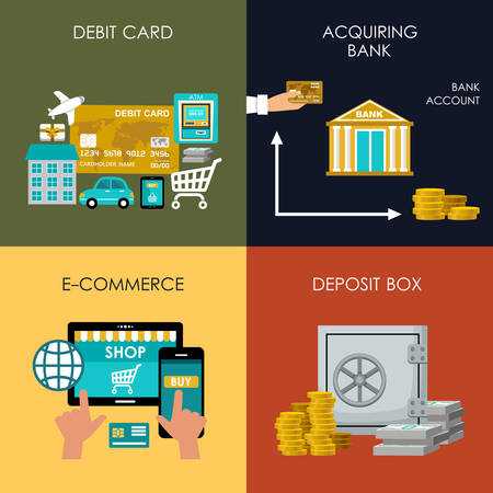 pay money: Banking set icons in style flat design. Transactions. Vector illustration