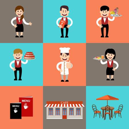 restaurant: The service personnel in cafe and restaurants. Vector illustration Illustration