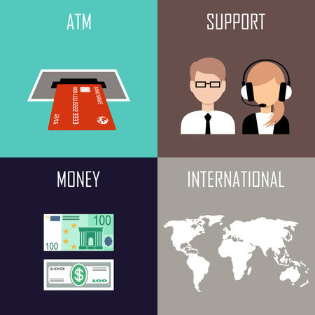 acquirer: Banking set icons in style flat design. Vector illustration Illustration