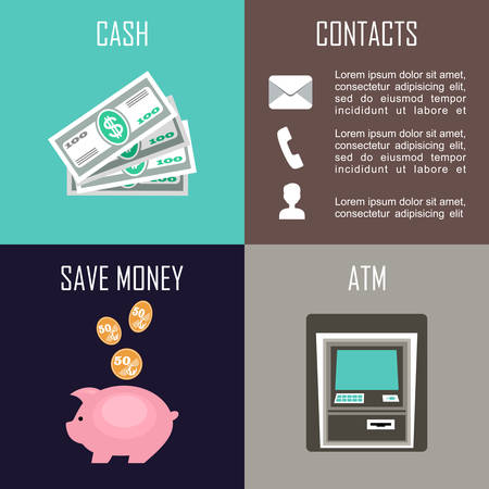 Banking set icons in style flat design. Vector illustration Illustration