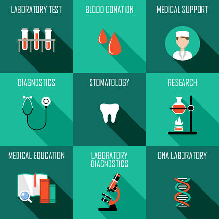 science lab: Medicine icons set. Laboratory diagnostics. Vector illustration Illustration